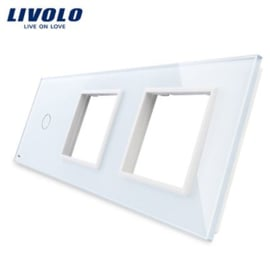 Livolo | White | Glass Panel  | Triple | 1 Gang + Frame + Frame
