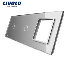 Livolo | Grey | Glass Panel  | Triple | 1 Gang + 1 Gang + Frame