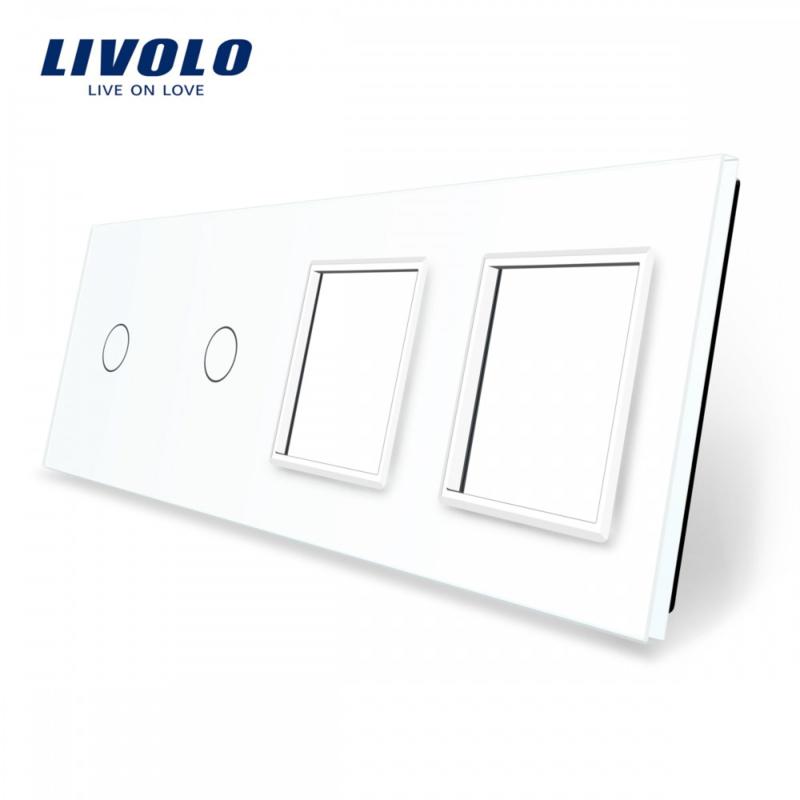Livolo | White | Glass Panel  | Quintuple | 2 Gang + 2 Frame
