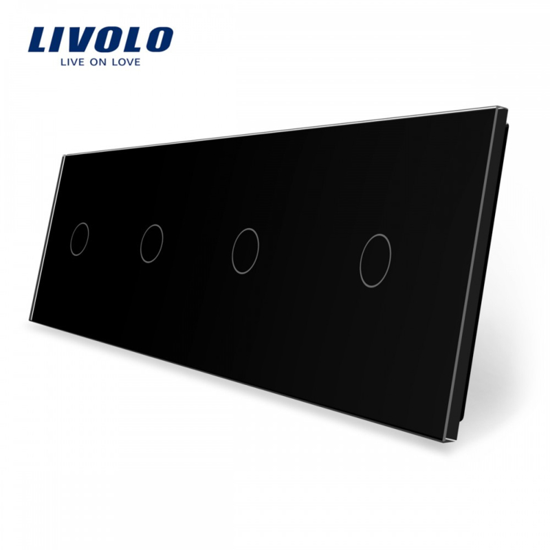 Livolo | Black | Glass Panel  | Quadruple | 1 Gang