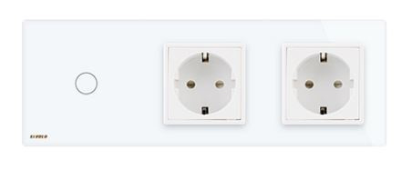 Livolo | White | 1Gang 1Way | Wall Touch Switch and double EU socket