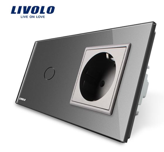 Livolo | Grey | 1Gang 1Way | Wall Touch Switch and EU socket