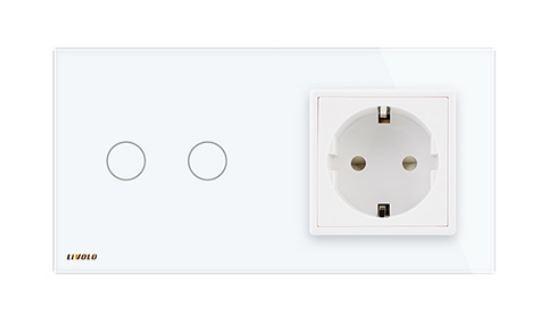 Livolo | Blanc | 2 Boutons 1 Voie | Interrupteur Tactile Mural & Prise UE