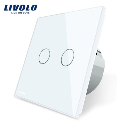 Livolo | White | 2Gang 1Way | Wall Touch Switch