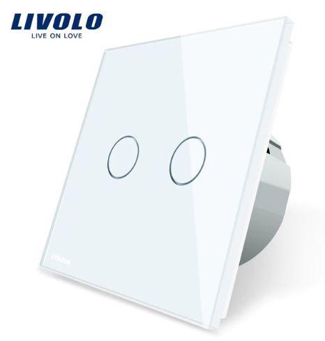 Livolo | Blanc | 2 Boutons 1 Voie | Interrupteur Tactile Mural