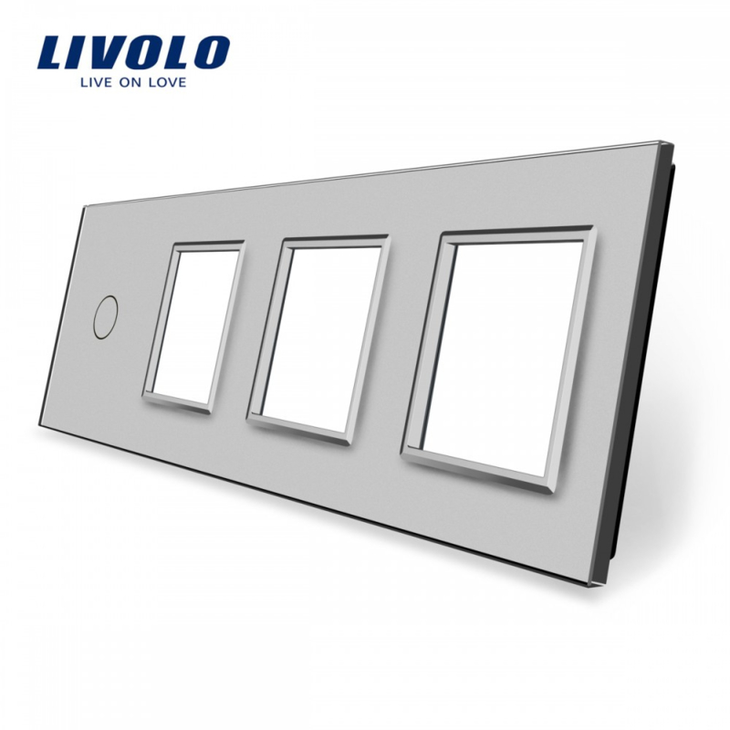 Livolo | Grey | Glass Panel  | Quintuple | 1 Gang + 3 Frame