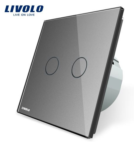 Livolo | Grey | 2Gang 1Way | Wall Touch Switch
