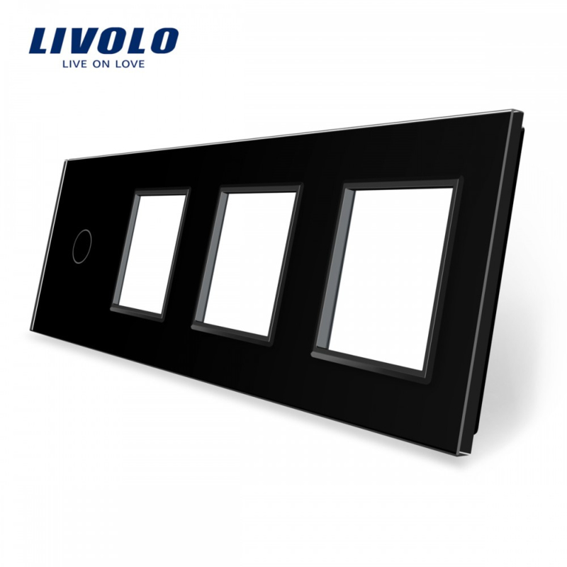 Livolo | Black | Glass Panel  | Quintuple | 1 Gang + 3 Frame