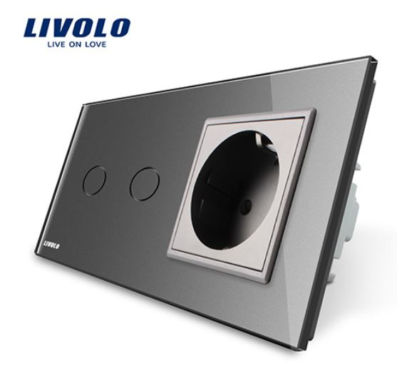 Livolo   Grey   2Gang 1Way   Wall Touch Switch and EU socket