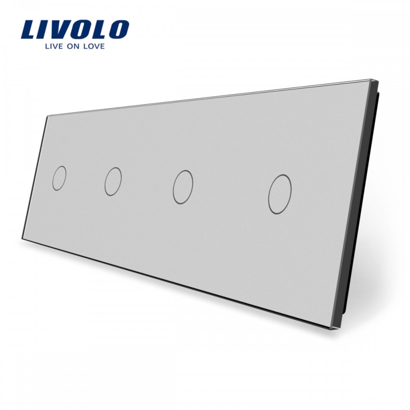 Livolo | Grey | Glass Panel  | Quadruple | 1 Gang