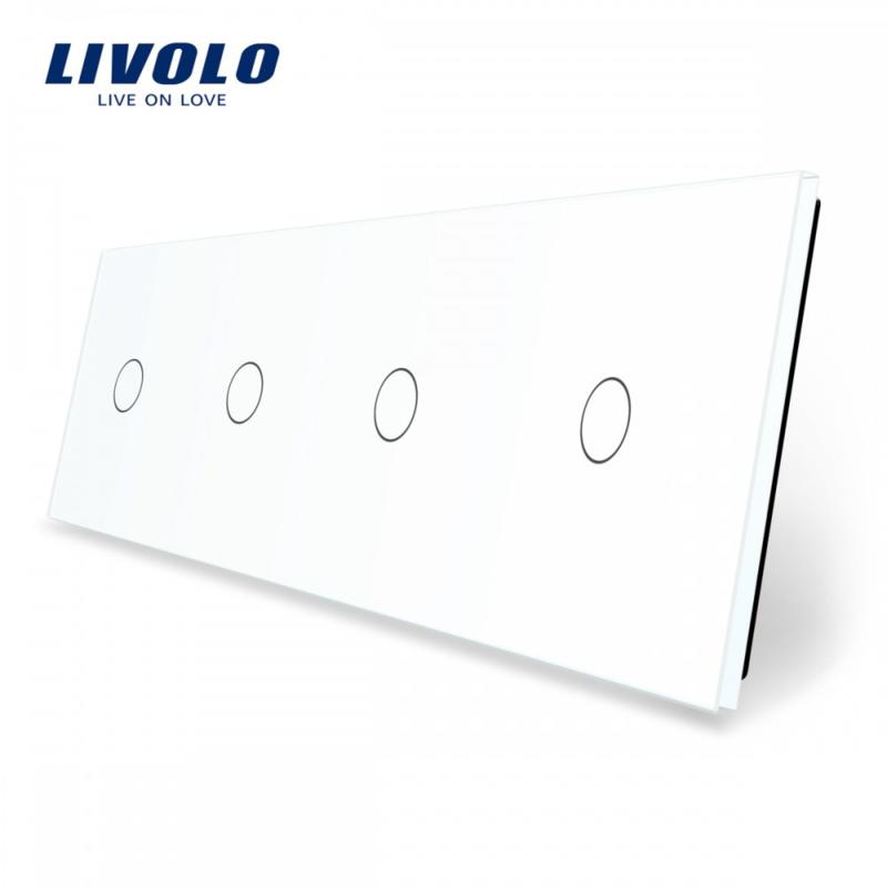 Livolo   White   Glass Panel    Quadruple   1 Gang