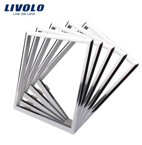 Livolo | Cadre Décoratif pour prise | 5 pièces | Argent