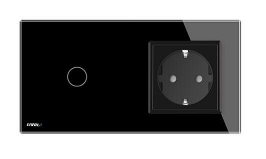 Livolo | Noir | 1 Bouton 1 Voie | Interrupteur Tactile Mural & Prise UE