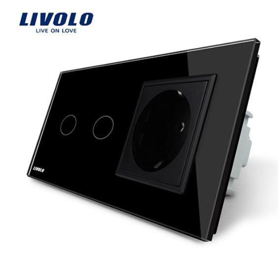 Livolo   Noir   2 Boutons 1 Voie   Interrupteur Tactile Mural & Prise UE