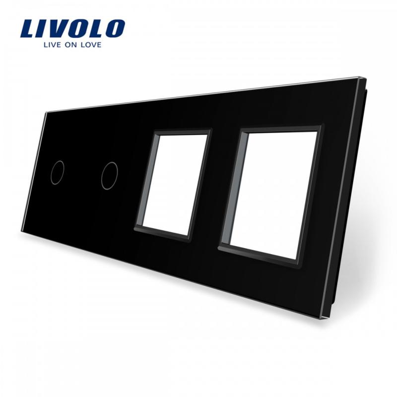 Livolo | Black | Glass Panel  | Quintuple | 2 Gang + 2 Frame