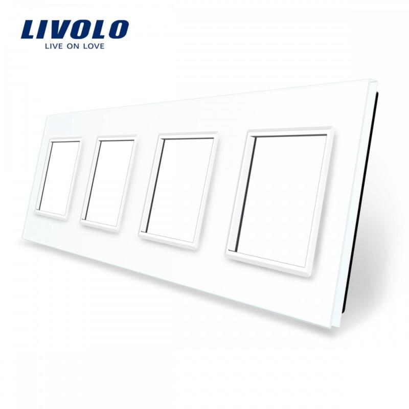 Livolo | White | Glass Panel  | Quadruple | Frame