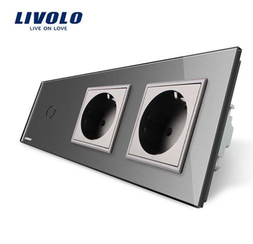 Livolo | Grey | 1Gang 1Way | Wall Touch Switch and double EU socket
