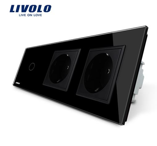 Livolo | Black | 1Gang 1Way | Wall Touch Switch and double EU socket