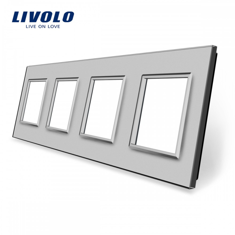 Livolo | Grey | Glass Panel  | Quadruple | Frame