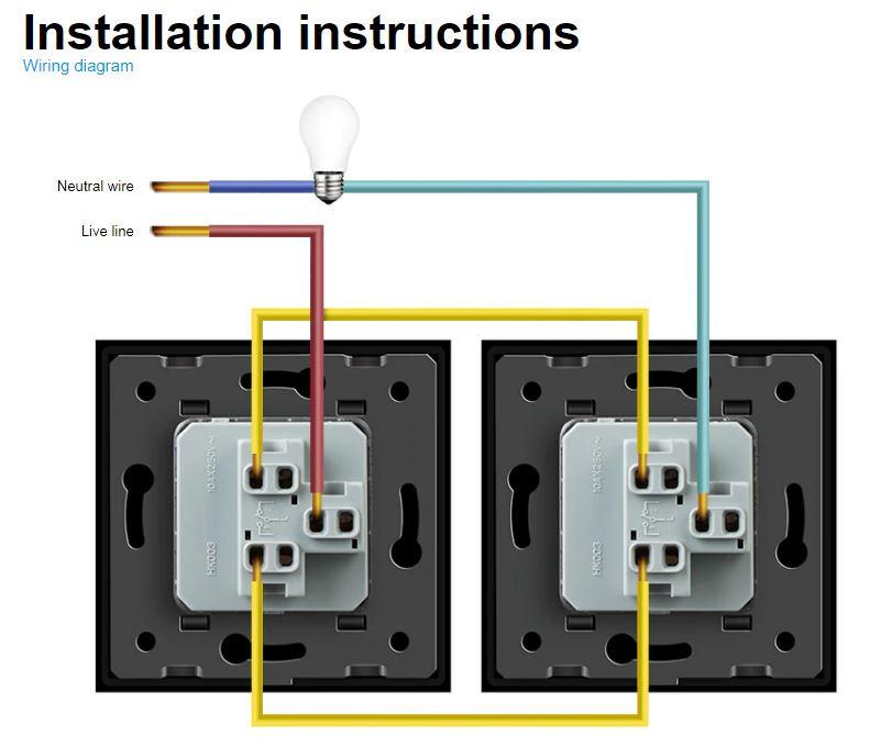 Livolo Black 1gang 2way Wall Push, 1 Gang 2 Way Switch Wiring Diagram