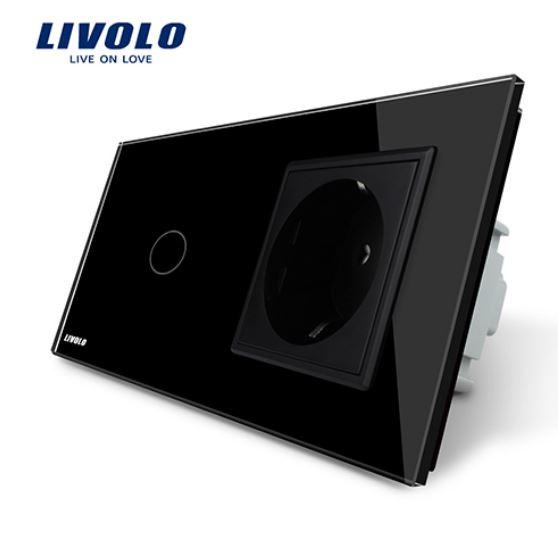 Livolo | Black | 1Gang 1Way | Wall Touch Switch and EU socket
