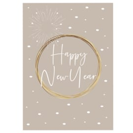 Happy New Year - taupe - A6