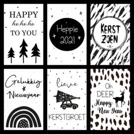 Zwart/Wit Kerst en Nieuwjaarskaarten - set 6 stuks - A6