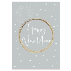 Happy New Year - zacht blauw - A6