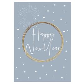 Happy New Year - blauw - A6