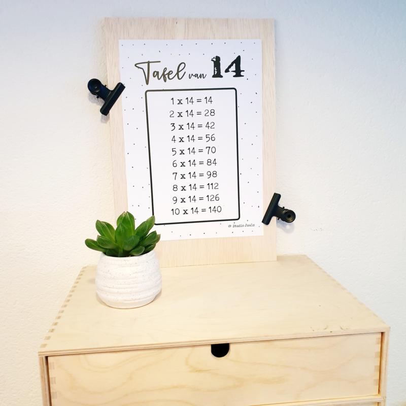 Tafels oefen 1 t/m 15  - A4 kaarten (excl. houten bord)