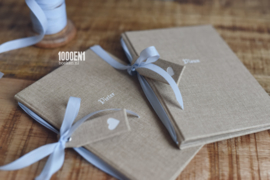 Vow book A6 sand linen (2 colors vintage ribbon)