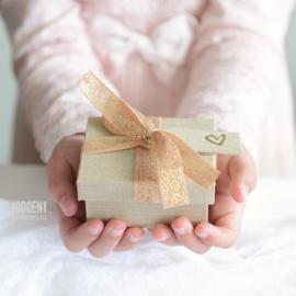Ringendoosje met tag(s) sand linnen & zalm / gouden strik