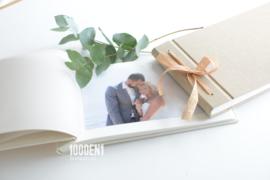 Personalized photo album sand linen