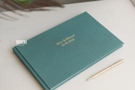 Gastenboek linnen  18 cm x 28 cm (kleur Teal)