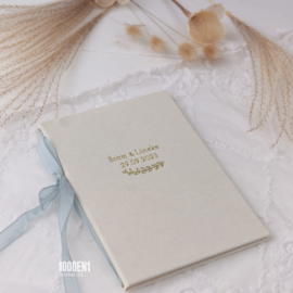 Vow book A5 in 2 colors of linen  (4 colors of ribbon)