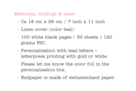 Guest book linen 18 cm x 28 cm / 7 inch x 11 inch (color Teal)