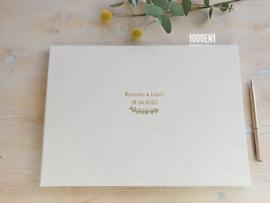 Wedding folder natural linen for 2 certificates A4 (landscape)