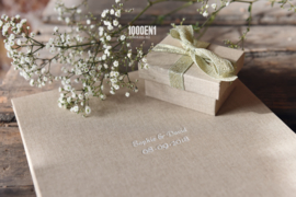 Wedding folder sand linen for 2 certificates A4