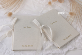 Vow book A6 natural linen ( 4 colors of ribbon)