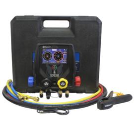 """99946-BT-EU 4-weg manometerset 4-weg smart manifold met 60 """"hogedrukslangen met standaard fittingen, zwarte vacuümslang, klem en (2) rechte adapterfittingen (90413)"""