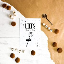 Ansichtkaart + staf || Liefs Sint & Piet