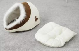 Honden iglo- faux fur / beige