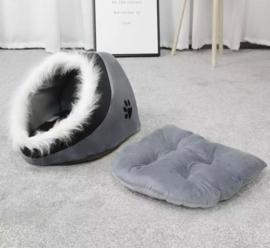 Honden iglo- faux fur / grijs