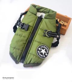 Extra dikke, waterproof jas + tuig/ donkergroen