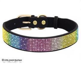 Zachte halsband met strass- regenboog
