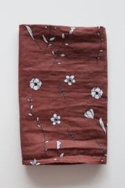 Hydrofiel doek / Bruin met bloemen