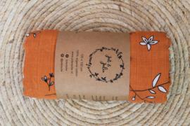 Hydrofiel doek XL /  Oranje met bloemen