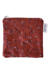 Boterhamzakje 18x18cm / Bruine bloemetjes