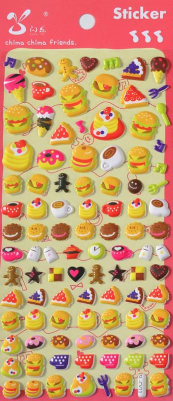 EU - Stickersheet puffy cute food (5 PCS)