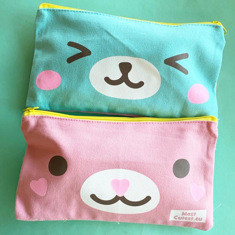 MostCutestNL pencil pouch (cotton) Turquoise, Pink (5 PCS)